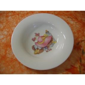 ASSIETTE CREUSE Décor LAPIN ROSE Modèle EMPIRE A AILE en porcelaine