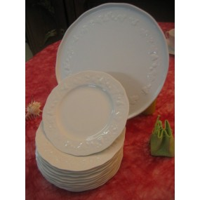 Service à Gâteaux CALIFORNIA 13 piéces Porcelaine de Limoges DESHOULIERES PORCELAINE DE LIMOGES