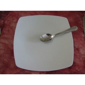 ASSIETTE A DESSERT CARRE SAHARA en porcelaine blanche