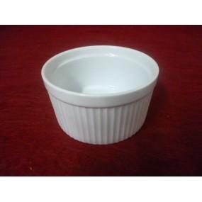 RAMEQUIN ou MOULE A SOUFLE INDIVIDUEL 35cl diam 10.5cm x 5.7cm haut en porcelaine blanche