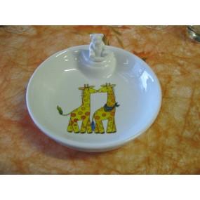 ASSIETTE  CHAUFFANTE Décor GIRAFE  (bouchon ourson)en porcelaine