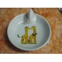 ASSIETTE  CHAUFFANTE Décor GIRAFE en porcelaine (bouchon Caneton)