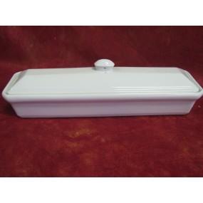 TERRINE A PATE EN CROUTE RECTANGULAIRE en porcelaine blanche avec couvercle