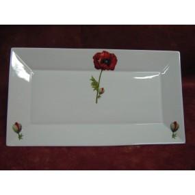 PLAT RECTANGULAIRE JAPAN  modèle moyen en Porcelaine DECOR COQUELICOT pavot