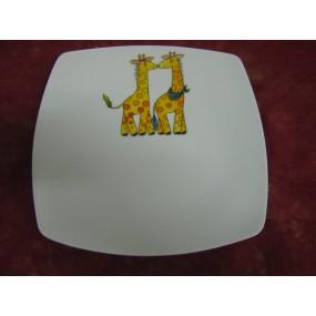 ASSIETTE A DESSERT SAHARA en porcelaine DECOR GIRAFE