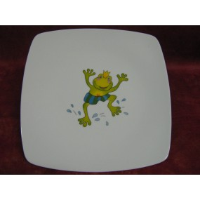 ASSIETTE PLATE CARREE SAHARA en porcelaine DECOR GRENOUILLE