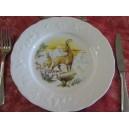 ASSIETTE PLATE décor CHASSE LES BOUQUETINS en Porcelaine de Limoges CALIFORNIA