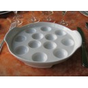 ASSIETTE A ESCARGOTS en porcelaine blanche
