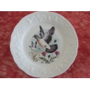 ASSIETTE DESSERT DECOR PIGEON en Porcelaine de Limoges CALIFORNIA