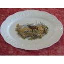 PLAT OVAL DECOR CHASSE le CERF QUI BRAME Porcelaine de Limoges california