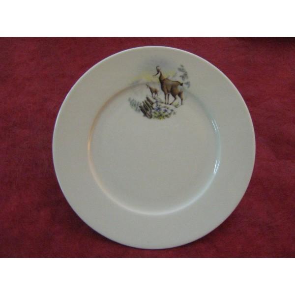 Assiette dessert decor chamois en porcelaine centre - Decoration assiette dessert ...