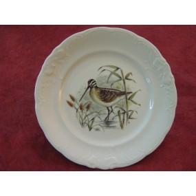 ASSIETTE PLATE décor BECASSE en Porcelaine