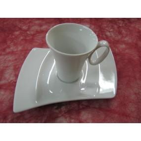TASSE A CAFE OCEANE 10cl AVEC SOUSTASSE en porcelaine blanche